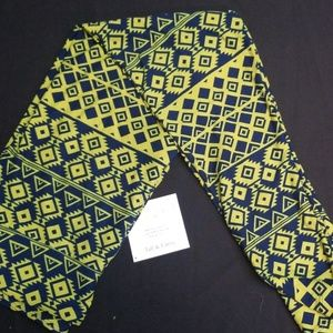Lime and Navy Lularoe TC leggings NWT